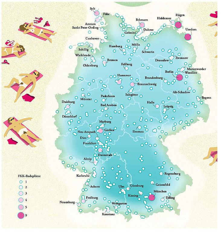 www deutschlandkarte Landkartenblog: Deutschlandkarte: Hier kann man in Deutschland FKK  www deutschlandkarte
