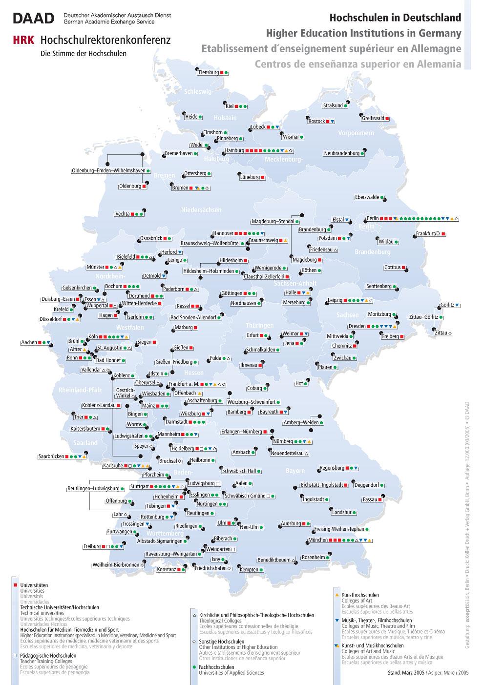 universitäten deutschland karte Universitäten Deutschland Karte universitäten deutschland karte