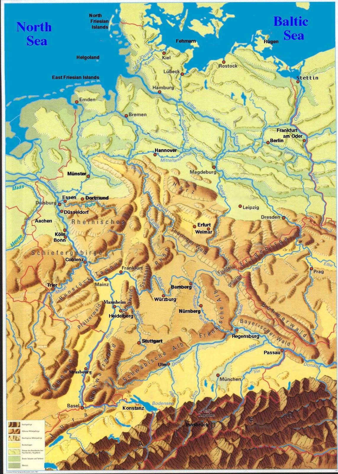 Westermann Deutschland Physisch Posterkarte Landkarten