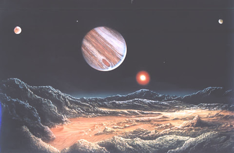 Andrew Stewart Space Art: Jupiter System (Acrylic on Canvas)