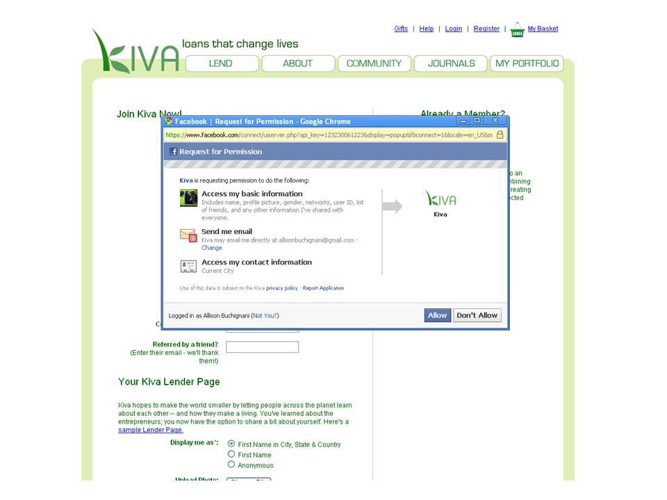 Kiva Launches Facebook Connect Kiva
