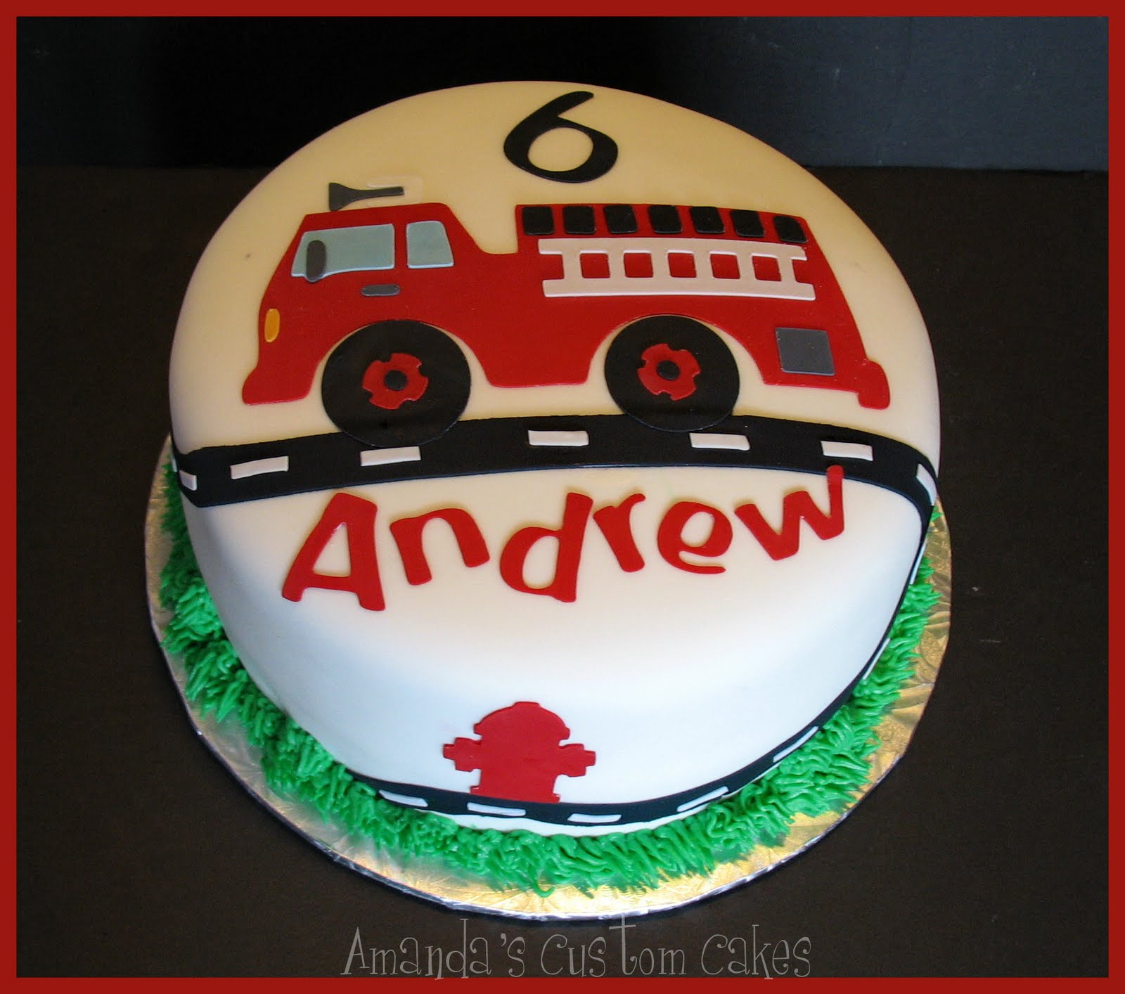 Fire Truck Themed Baby Shower Cake