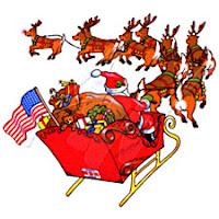 santa claus, reindeer, sleigh