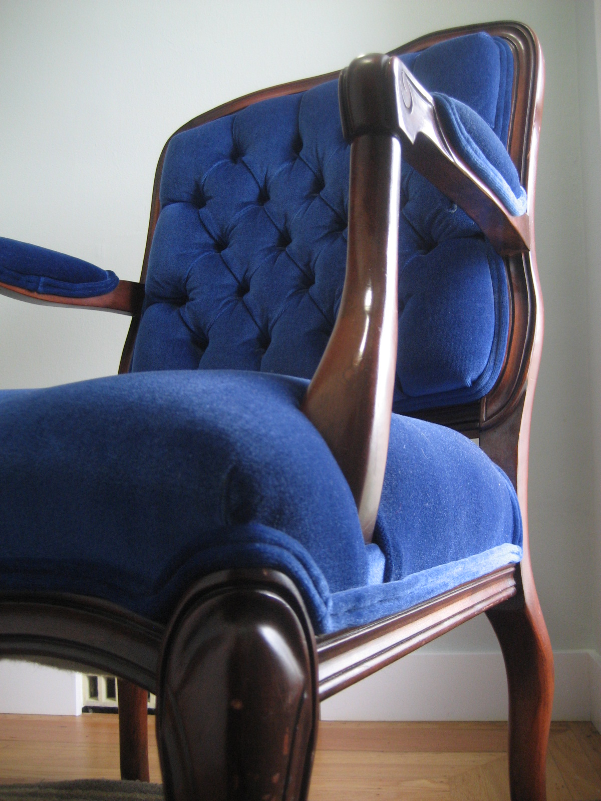 Royal Blue Chairs Fold Out Twin Bed Chair Six Balloons Vintage Delights Victorian Velvet