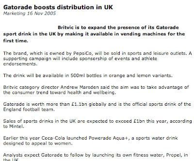 Gatorade in the UK