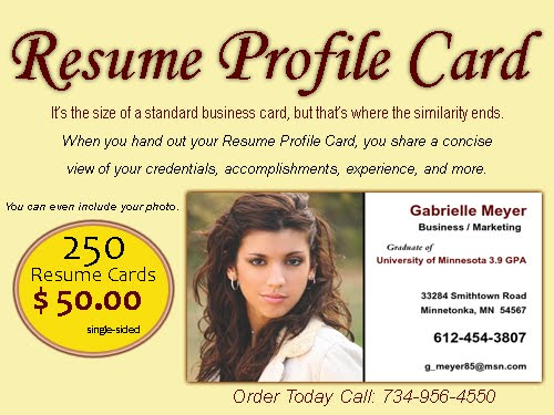 Resume Profile Cards 50 00 Improve You Job Search