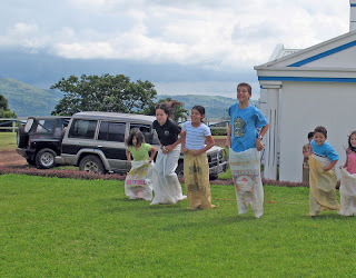 Erica Ridley in Costa Rica: sack races