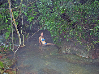 Erica Ridley in Costa Rica: hot spring at Rio Celeste
