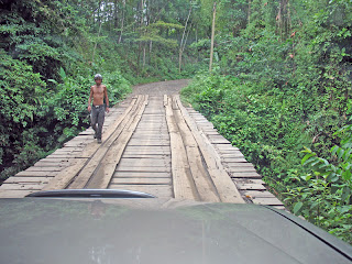 Erica Ridley in Costa Rica: sharing a rickety bridge