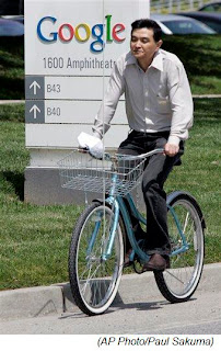 Google worker rides a company bike