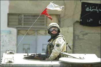 Poland flag soldier