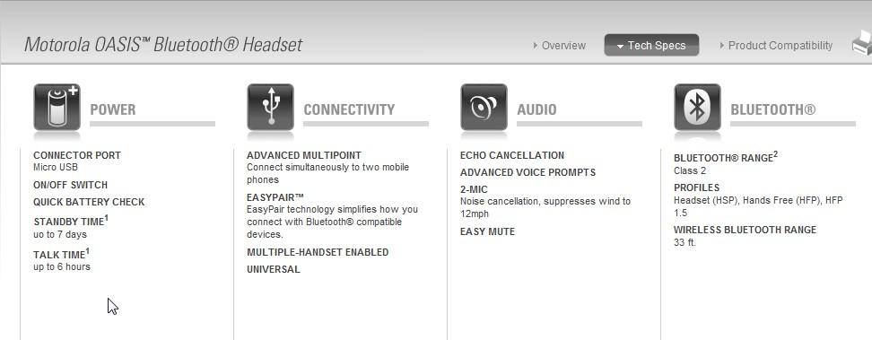 Worldwide Tech & Science: Motorola Oasis BT headset