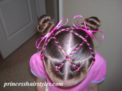 Prime Candy Stripes Hairstyle With Ribbons Hairstyles For Girls Hairstyles For Women Draintrainus