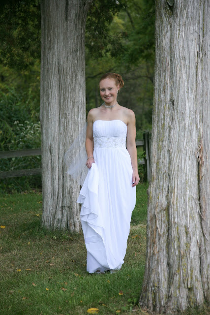 Kristin in her wedding dress at Lapham Peak State Park