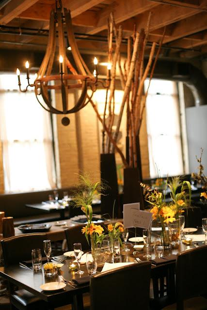 Gorgeous table settings at Hinterland Erie Street Gastropub wedding reception