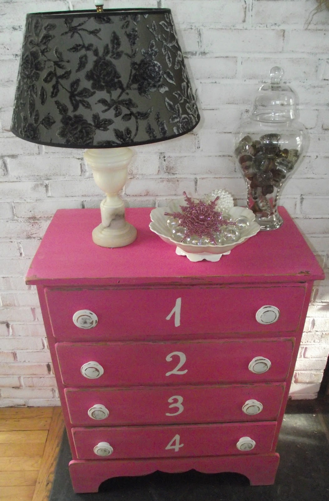 Serendipity Chic Design Hot Pink Shabby Chic Pink Number Dresser