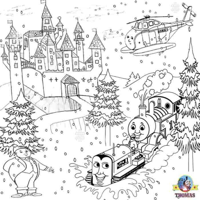 printable christmas colouring pages for kids thomas winter pictures train thomas the tank. Black Bedroom Furniture Sets. Home Design Ideas
