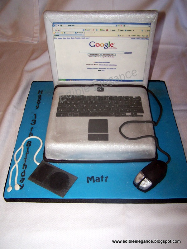 Edible Elegance Laptop Cake