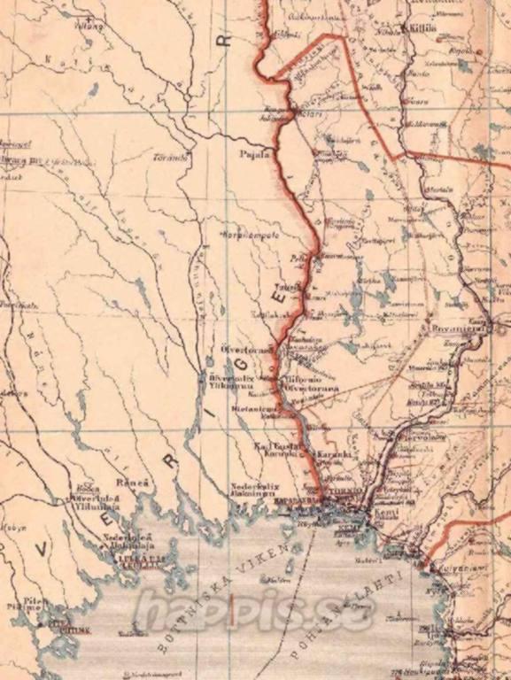 tornedalen karta Haparanda och Torneå kartor: Gammal karta Tornedalen tornedalen karta