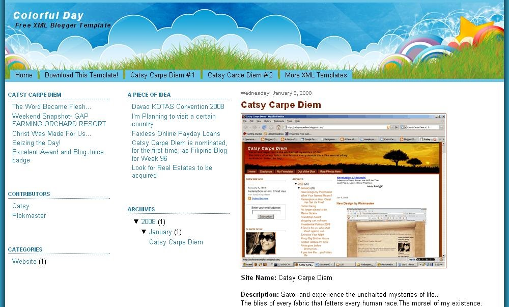 xml templates for blogger free download colorful day 3 column xml blogger template veerublog