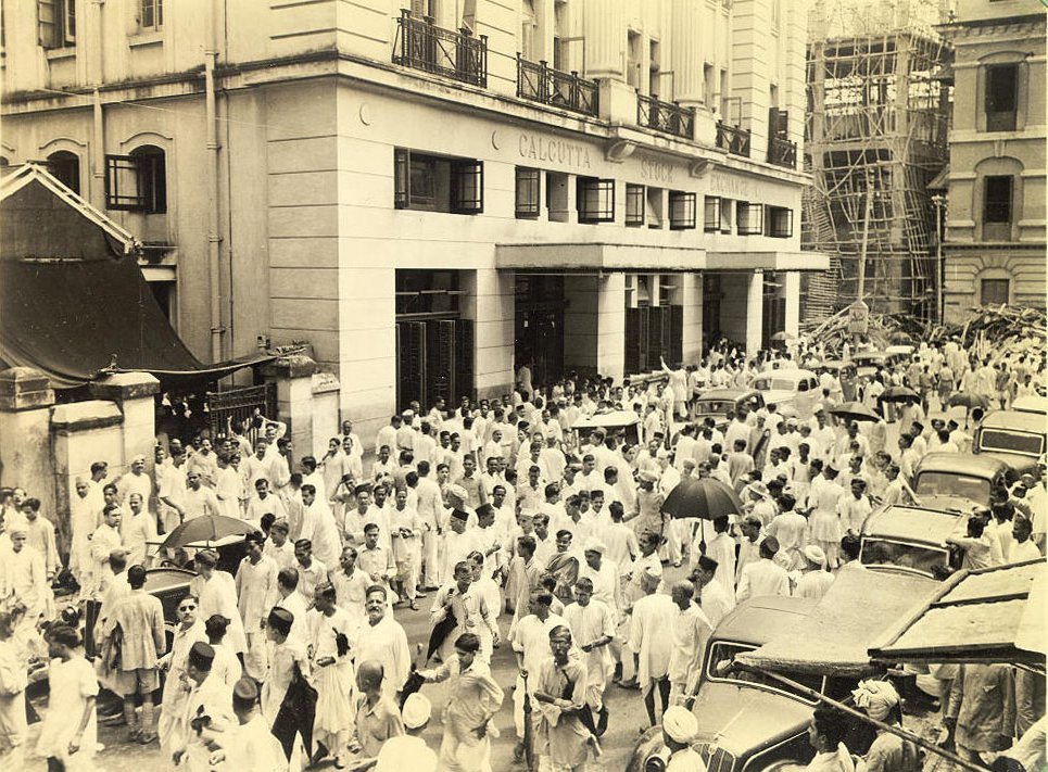 Street scene outside the Calcutta stock exchange