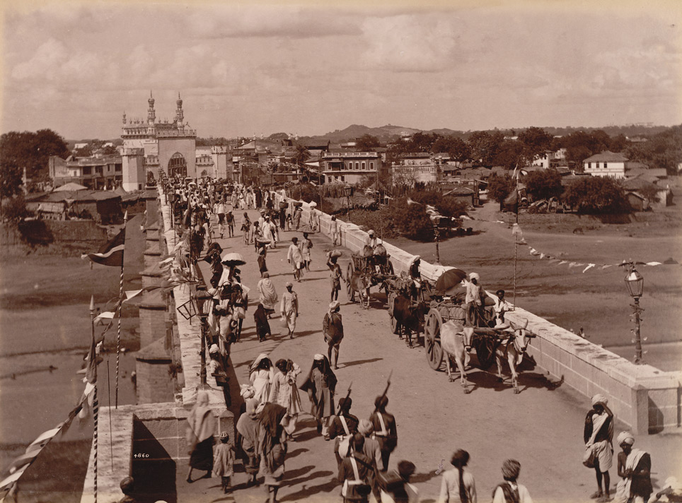The entrance bridge to City, Hyderabad; a photo by Lala Deen Dayal, 1880's