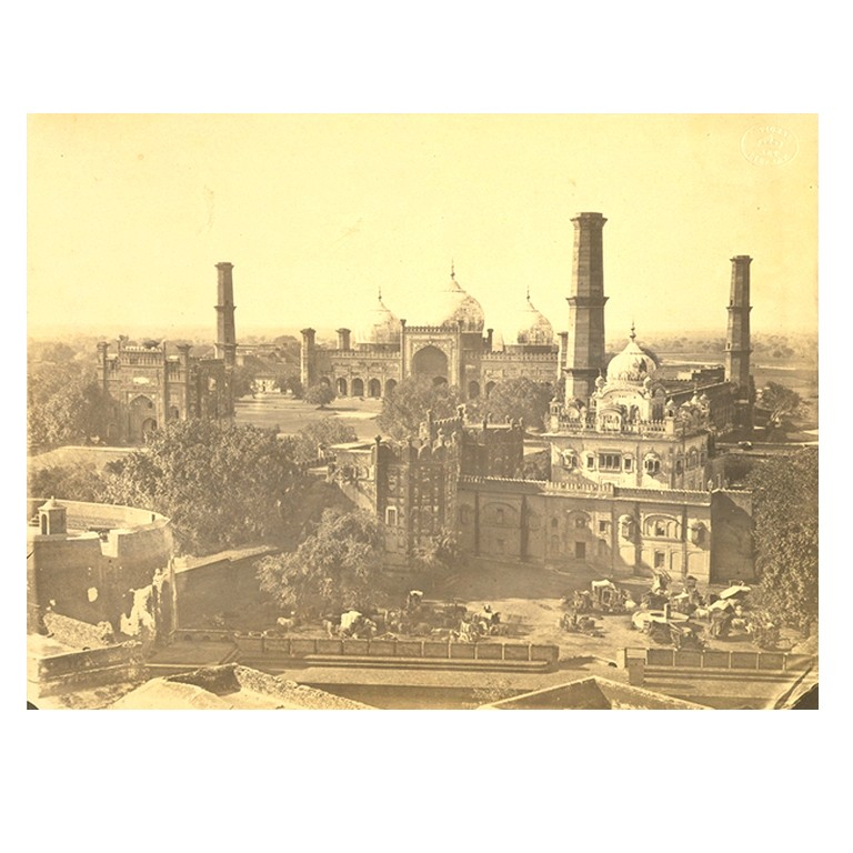 Ranjit Singh's tomb from the top of Ranjit Singh's palace - Lahore c1860's - 1870's