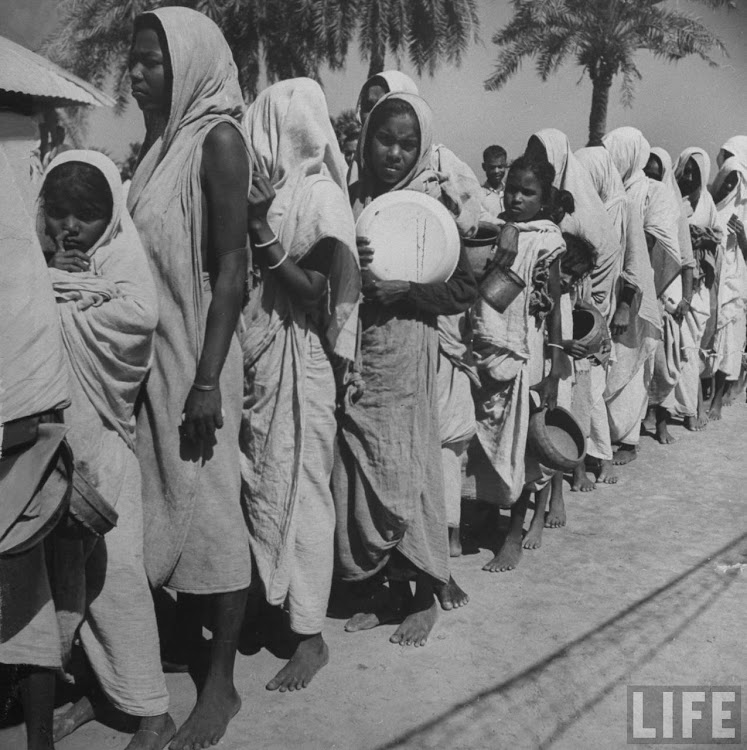 Starving Hindus lining up for government handouts in Calcutta