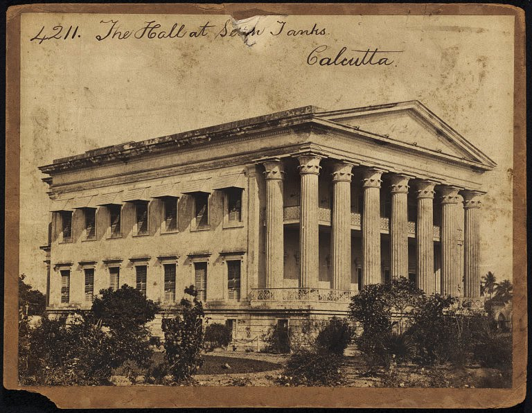 A Hall at Seven Tanks in Calcutta (Kolkata) - Mid 19th Century