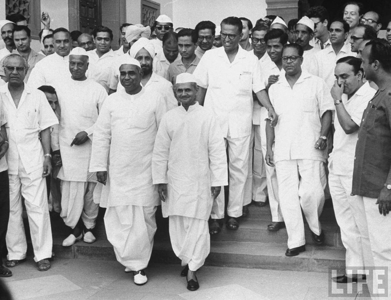 New Prime Minister Lal Bahadur Shastri with party leaders - June 1964 New Delhi