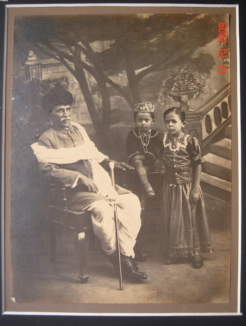 Grandfather and Two Young Kids - Vintage Indian Photograph, Date Unknown