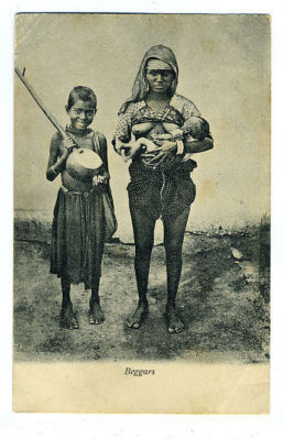 Indian Beggars with Musical Instrument and Child - 1910s