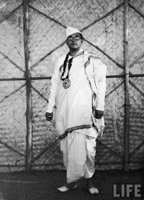 Subhas Chandra Bose, the new President of the 51st Indian National Congress, wearing traditional formal clothing in 1940