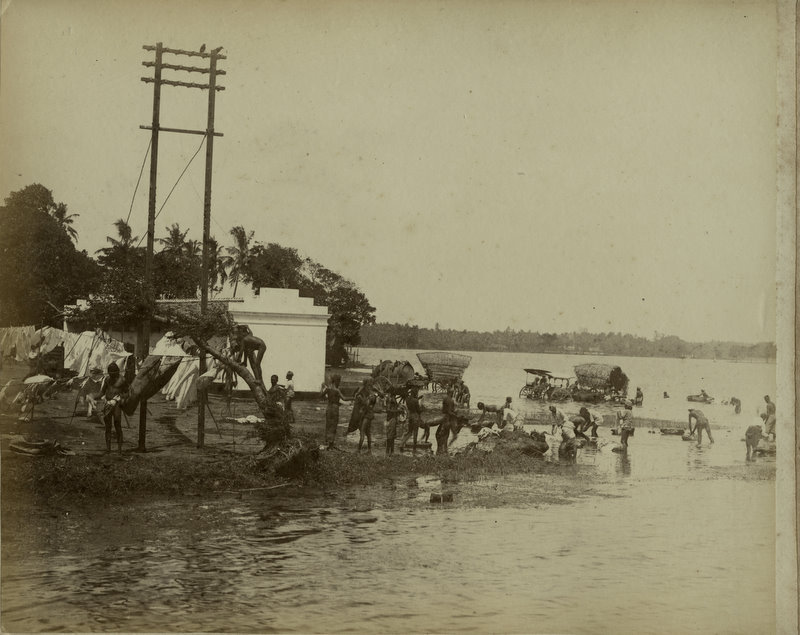 Washing Cloths in a River - Ceylon (Sri Lanka) - 1890's
