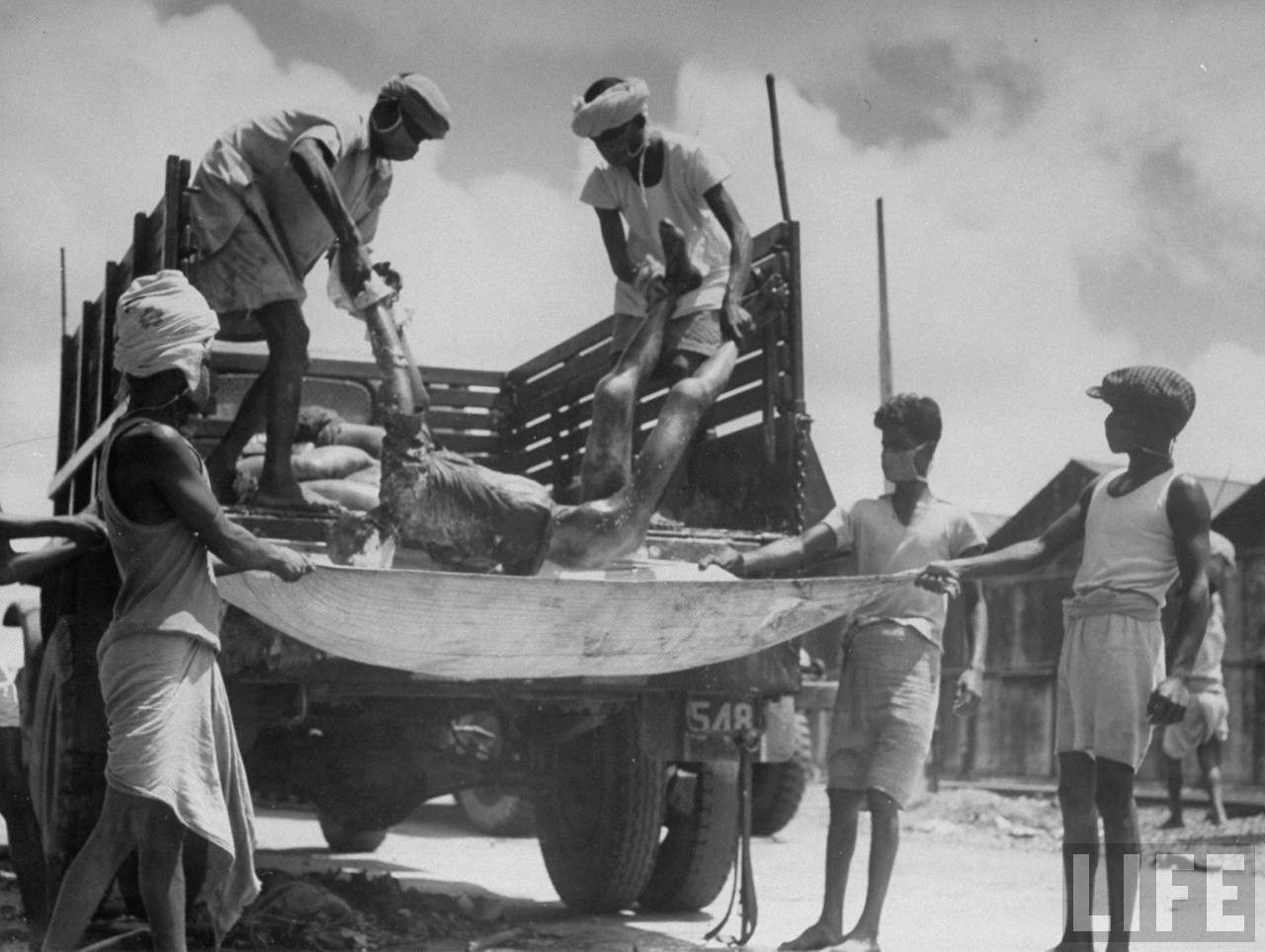 Men unloading corpses from truck in preparation for cremation after bloody rioting