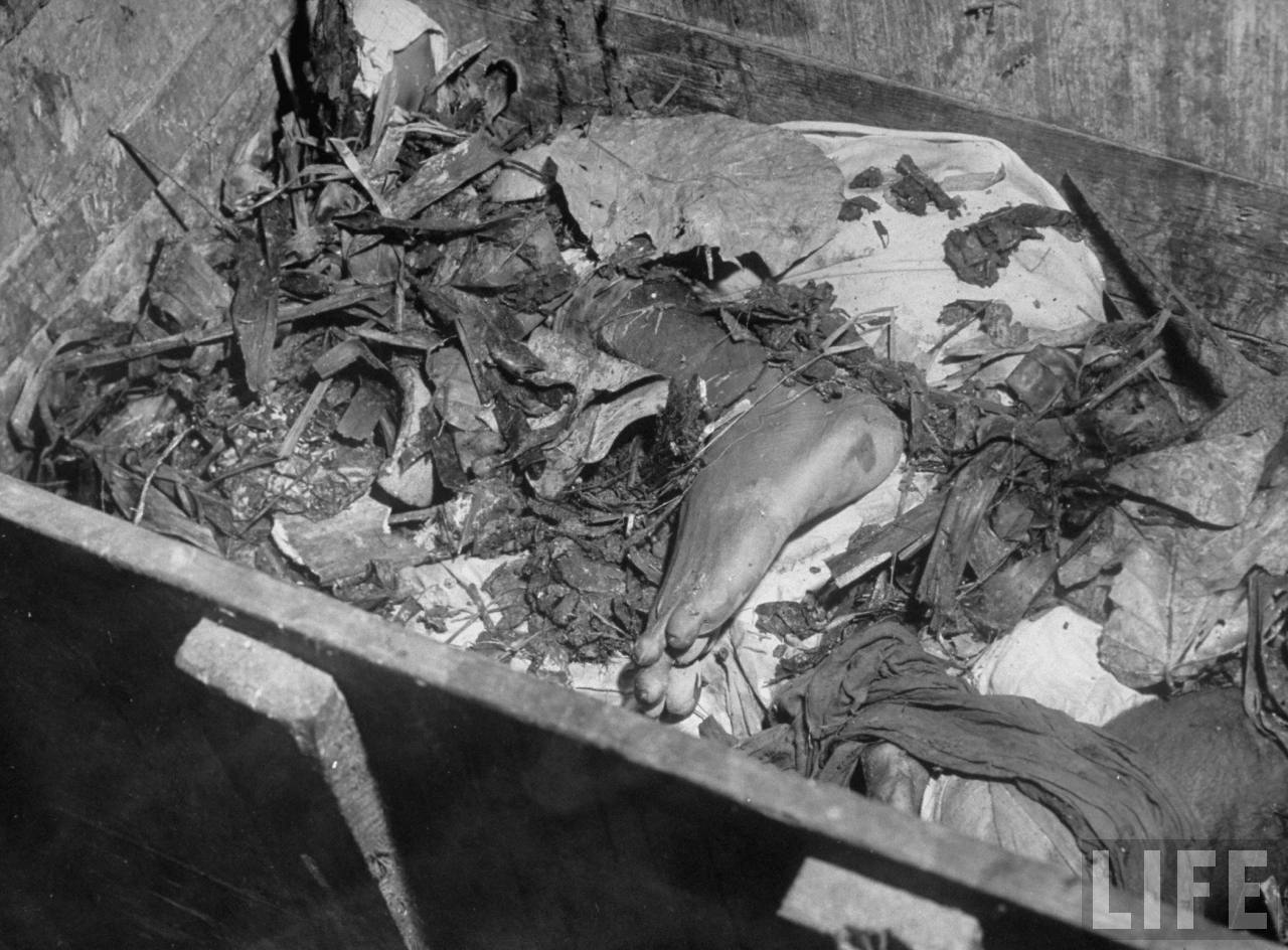 Severed foot in a wooden box during cleanup of corpses after bloody rioting