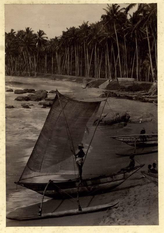 Sailboats on Beach - Ceylon (Sri Lanka) 1880's