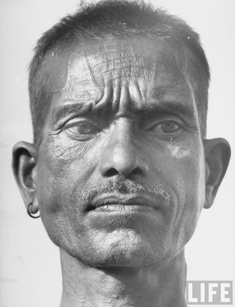 Closeup Portrait of an Indian Aborigines Communist villager - Zari India - 1946