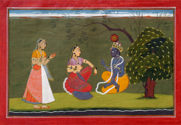 Radha and Krishna in Discussion (An illustration from Gita Govinda) -  Basohli Painting Circa 1730