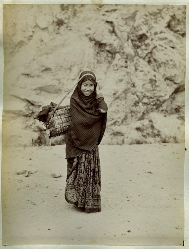 Nepalese Woman with a Child in Basket - 1880's