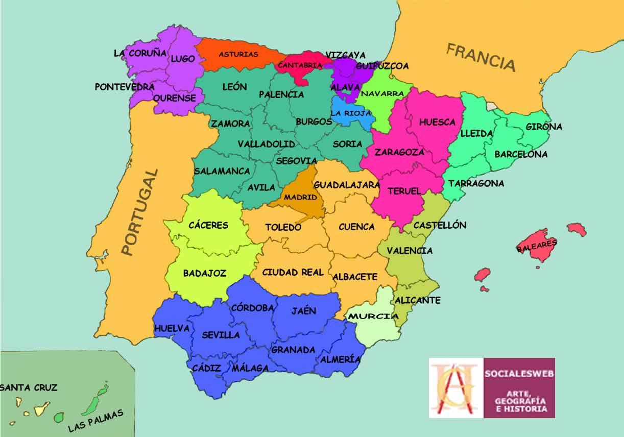 Resultado de imagen de comunidades autónomas y provincias
