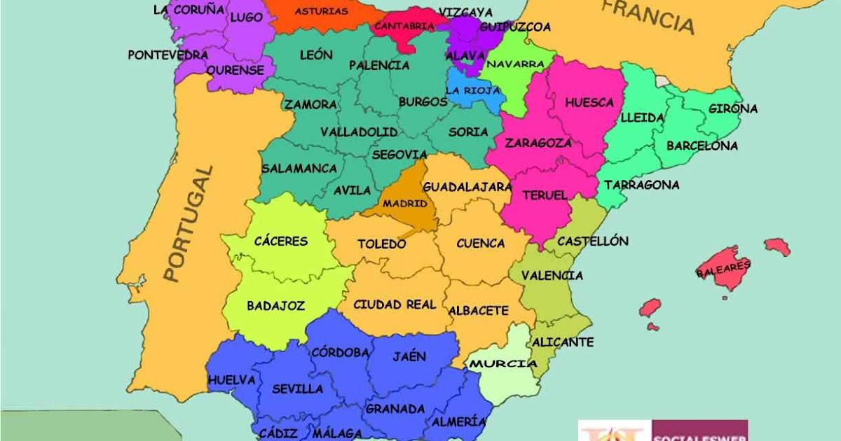 Mapa De España Con Sus Provincias.Paco Salazar Trabajo Sociales 2º Pcpi Espana Y Sus Comunidades