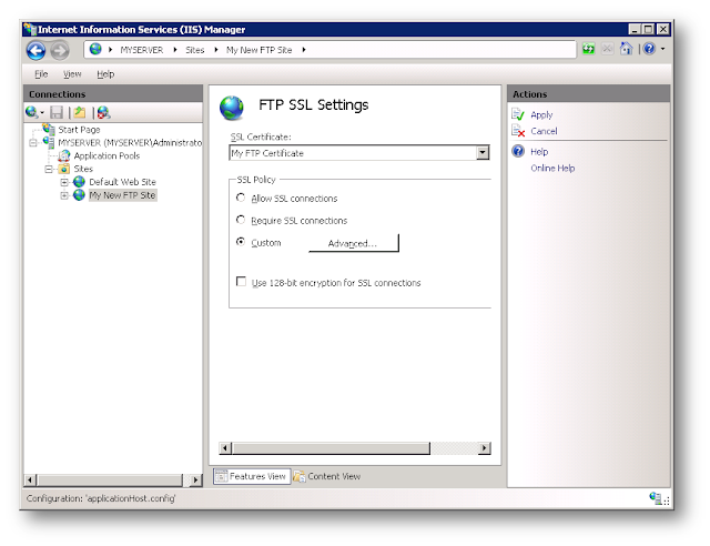 FTP over SSL in IIS 7 5, Windows server 2008 R2 and