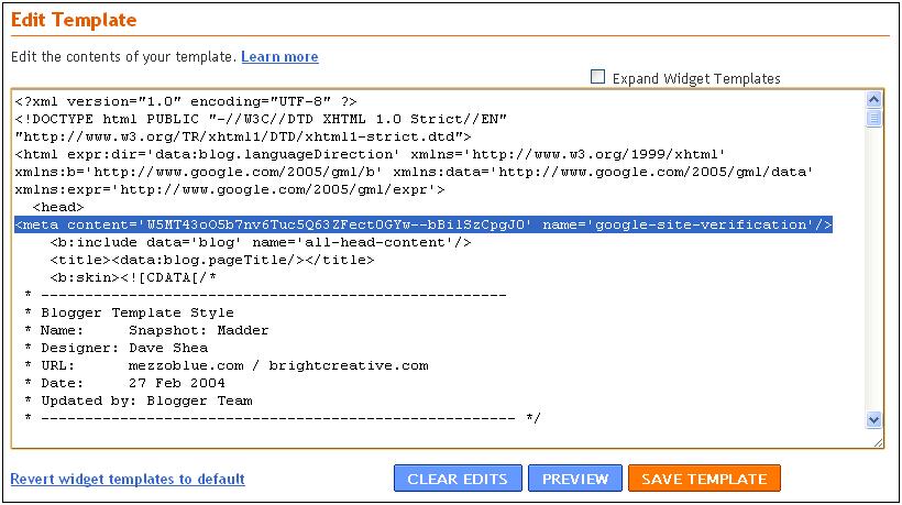 Official Google Webmaster Central Blog: Verifying a Blogger