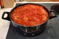 hungarian stuffed cabbage rolls cooking on stovetop