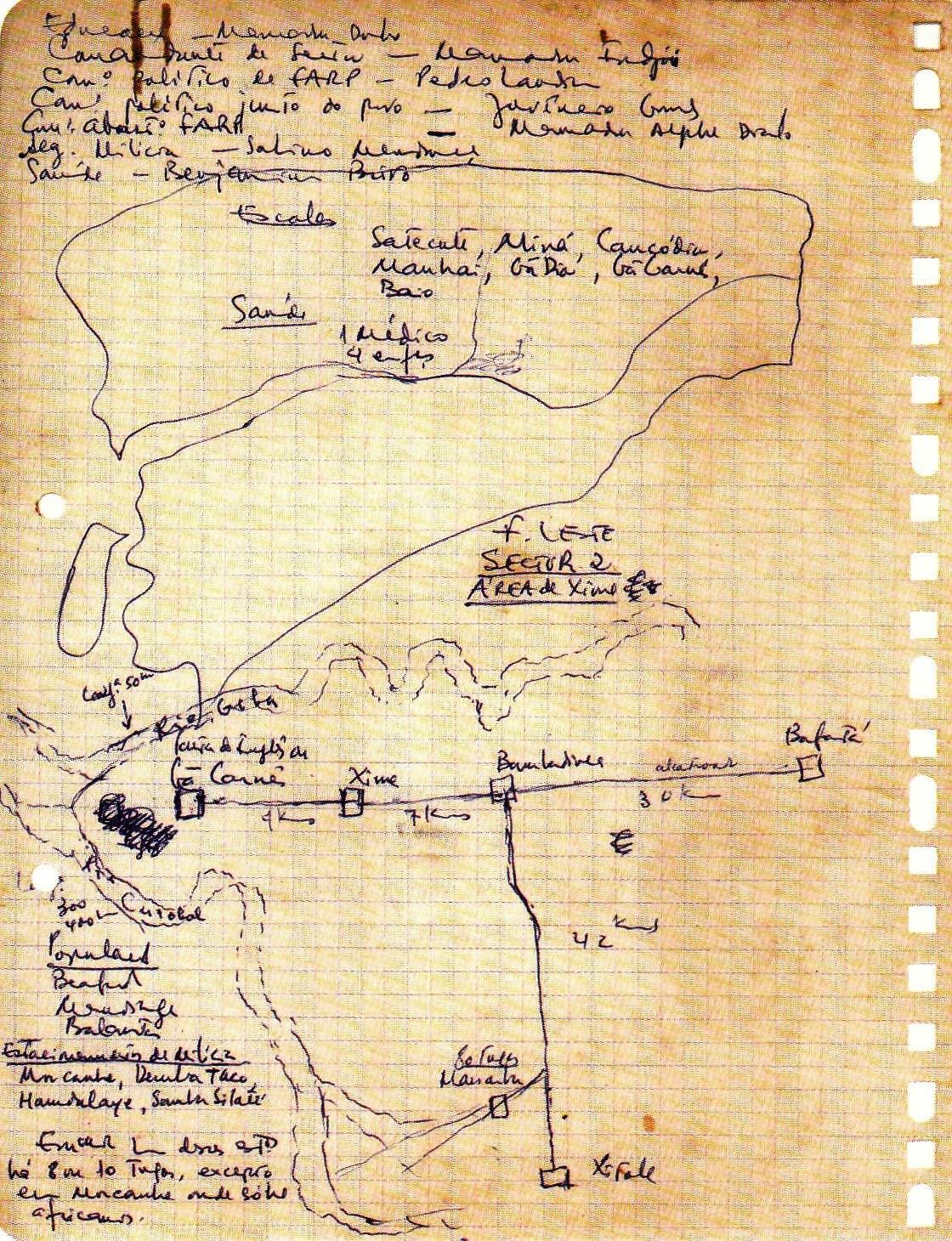 1612fea5158fb Um curioso manuscrito de Amílcar Cabral, com o croquis da Frente Leste,  Sector 2, Área de Xime. S d. Arquivo Amílcar Cabral. Fundação Mário Soares.