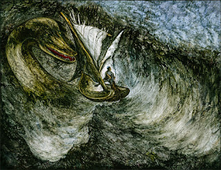 An oil painting of the Loch Ness Monster