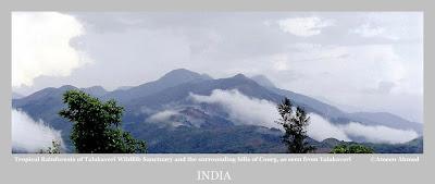 The hill peaks of Talakaveri wildlife sanctuary in Karnataka's Kodagu (Coorg) District along its borders with Kerala