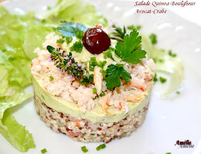la table lorraine d 39 amelie salade de quinoa et boulgour avocat et crabe. Black Bedroom Furniture Sets. Home Design Ideas