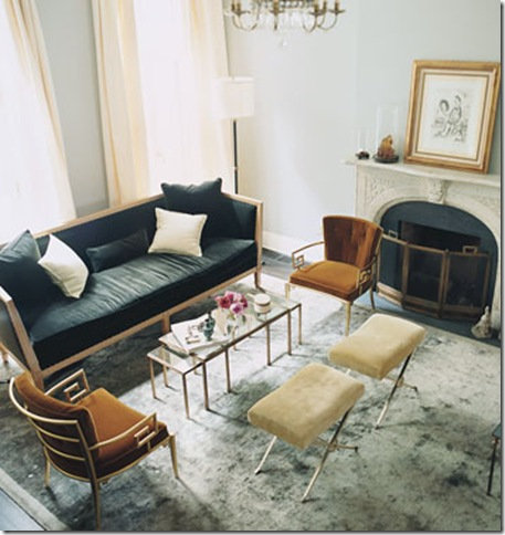 camel and gray living room small desk for a perfect katie joel s by nate berkus